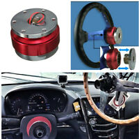 Car Steering Wheel Ball Quick Release Kit Red Aluminium For Most 6-hole Adapter