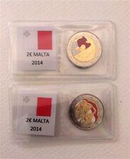"""MALTA 2 EURO COMMEMMORATIVO """"INDIPENDENZA"""" SMALTATO COLORATO ANNO 2014-1 moneta"""