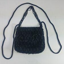 Evening Bag Purse Black Beaded Satin Net Crossbody Small Vintage Formal Cocktail