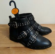 Primark size 4 37 Black Faux Leather Ankle Zip Buckle Boots Shoes sliver Studded
