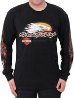 Harley-Davidson Mens Screamin' Eagle Flames Black Long Sleeve Biker T-Shirt