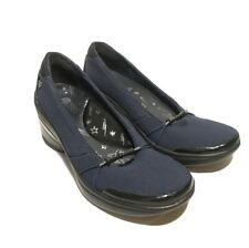 BZees Women's Navy Blue Slip-on Stretch Wedge Heel Cushioned Shoes Size 7 M