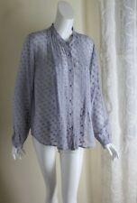 Soft Surroundings Sz L Fine Silk Polka-Dot Lovely Pleated Blouse Artsy Shirt Top