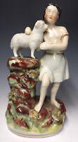 RARE Antique 19th C. Staffordshire David and Lamb of God Art Pottery Figurine