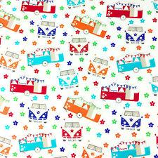 "Bright Summer Campervans 100% Cotton Fabric Width 44 "" Sold Per Half Metre"