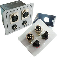 2x XLR & 6.35MM Outlet Wall Face Plate With Box - Microphone Mic Headphones
