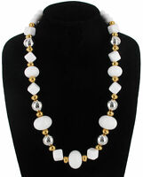 Vintage 1980S Chunky White Lucite Beaded Necklace Two Tone Gold Silver Long 24""
