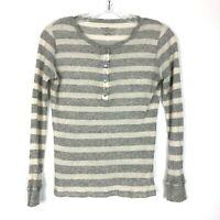 Majestic Filatures Paris Top Cashmere Gray Cream size XS 1 Striped Henley Shirt