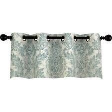 Sea Mist Linen Damask Pattern Valance Grommet Curtain Set of 2 Valances