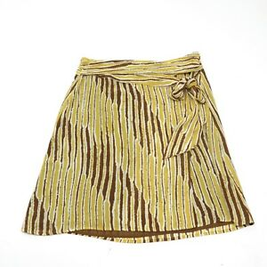TEX BY MAX AZRIA Skirt Yellow Brown Print Lined Side Zip Sash Belt SZ S