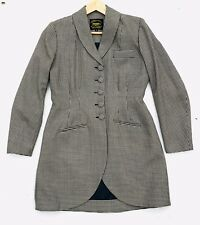 Droopy & Browns Angela Holmes Wool Long Riding Coat Size 14 Houndstooth Check