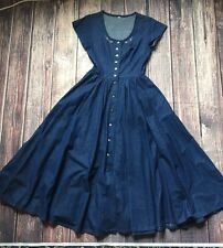 VTG Denim Button Up Fit And Flare Shirt Dress - Sz 4 - Pin Up Embroidered