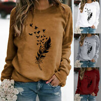 Womens Long Sleeve Sweatshirt Ladies Casual Loose Crew Neck Pullover Tops Blouse