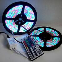 10M 2x5M 3528 SMD RGB 600LEDs LED Strip Lights Lamp + 44Key IR remote Controller