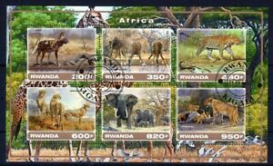 RWANDA 2017 AFRICA ANIMALS PANTHERA ELEPHANT GIRAF HYENA CHITA LEO STAMP MNH CTO