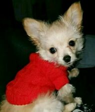 XXS Size Red Puppy Dog Coat Warm Knit Jumper Cable Pet Chihuahua Teacup