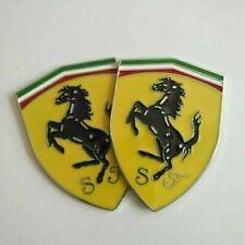 2ps Metal Logo Emblem Side Badge Sticker Decal Fender Hood Trunk Fit for Ferrari