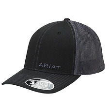 Ariat Black Gray Flexfit Mesh Snap Back Hat Ball Cap.   NWT! 1597501