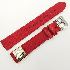 15mm Red Satin Interchangeable Watch Band Two Piece Strap Silver Buckle