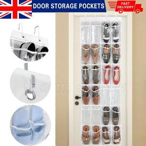 24 Over The Door Storage Pockets Hanging Shoe Organizer Box Rack Hanger Tidy UK