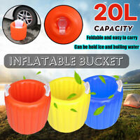 20L Big Capacity Folded Inflatable Bucket ICE HOT Bucket Camping Travel Outdoor