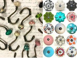 Vintage iron hooks / coat pegs  with choice of ceramic knob