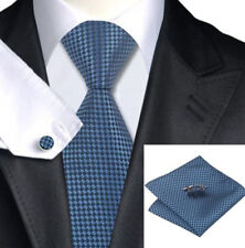 Mens Azul Y Negro Cuadros Corbata tejida de seda + Pañuelo & cuflinks Juego Set 47
