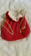 BEADED CINCH PURSE BAG REVERSIBLE GOLD CHAIN RED WHITE FLAPPER STYLE CHRISTMAS