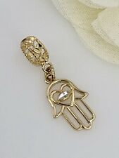 Solid 14K Yellow & White Gold Filigree Hamsa Hand & Eye Charm w/ Tube Bail, New