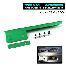 PREDRILLED JDM STYLE SIDE FRONT LICENSE PLATE RELOCATOR BUMPER GRILLE DIY GREEN