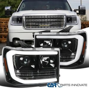 For Pearl Black 07-14 GMC Sierra 1500 2500HD LED DRL Tube Projector Headlights