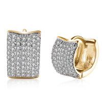 3-Pair Small Earrings Hoops Huggie CZ Crystal Rose Goldtone Stainless Steel 12mm