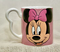 Disney 3D Minnie Mouse Signature Pink Ceramic Coffee Cup Mug w/ Ear Handle 12oz