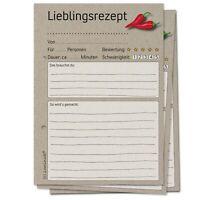 50 Rezeptkarten zum Selberschreiben für Rezeptordner modernes Design Rezepte