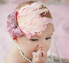 Baby Vintage Headband flower Feather Pad prop hair band Accessorie,pink #