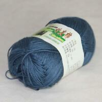 50g 1Ball Super Soft Worsted Natural Bamboo Cotton Knitting Yarn 925 Steel Blue