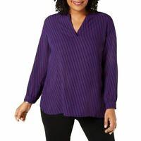 ANNE KLEIN NEW Women's Plus Size Striped Split V-neck Blouse Shirt Top TEDO