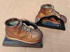 1960's Copper Bronzed Baby Shoes Booties Bookends Very Good