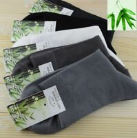 5 Pairs Mens Bamboo Solid Classic Casual Sports Dress Soft Comfort Socks Lot