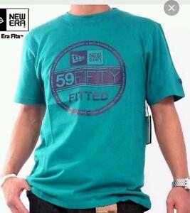 💯% Genuine New Era Branded Visor T-Shirt vice blue/grey - Medium