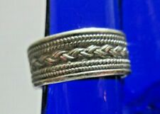 SILVER RING SIZE 5 VINTAGE 825 BRAIDED BAND GREAT STACKABLE ELEMENT PINKY RING