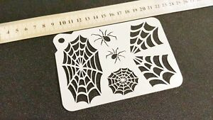 COBWEB SPIDERS Halloween Airbrush Paint Stencils Face Body Wall Cake Party Web