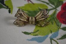 Vintage Italian silver filigree bow brooch