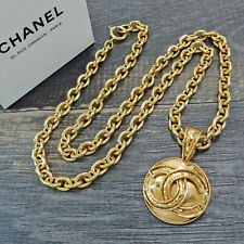 CHANEL Gold Plated CC Logos Charm Vintage Chain Necklace Pendant #5819a Rise-on