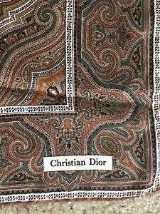 "Vintage Christian Dior  Paisley Pattern 100% Silk Pocket Square 18"""