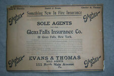 1912 GLENS FALLS INSURANCE COMPANY VINTAGE LINEN-BACKED PAPER SIGN