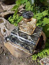 Encrier de bureau en marbre vert et cristal, monture carquois bronze doré XIXe