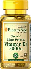 Puritans Pride Vitamin D3 5000 Iu X100 Rapid Release Softgels For Good Immunnity