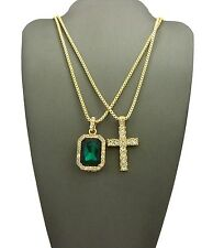 New Iced Out Cross & Emerald Color Stone Pendant With Box Chain Set