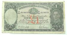Commonwealth of Australia 1 Pound Bank Note from 1938-1952 Circulated & Folded